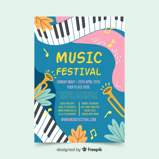 Wavy piano music festival poster Free Vector