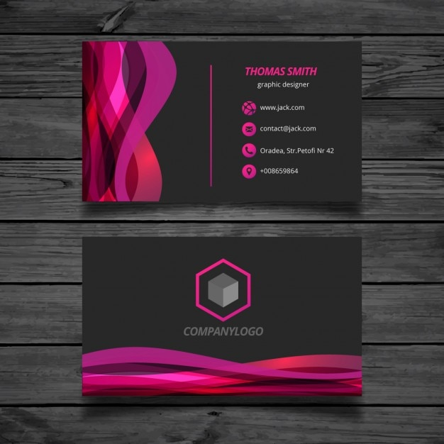 Wavy pink and black Business Card Vector