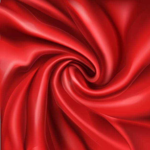 Wavy red silk, bended in spiral wrinkle 3d realistic  abstract, romantic background. Free Vector