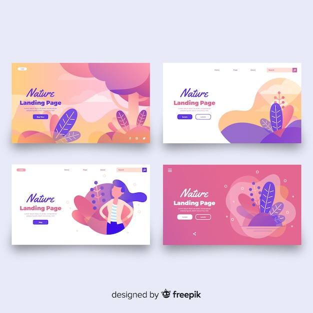Wavy shapes landing page Free Vector