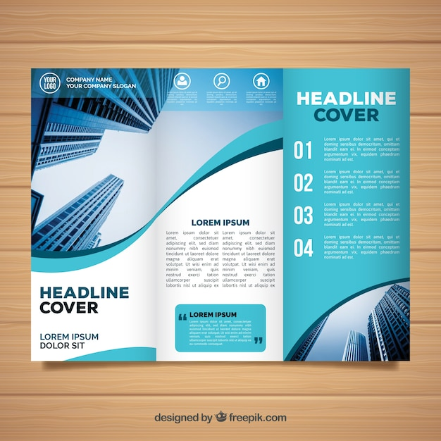Wavy Trifold Business Brochure Template Vector  Free Download