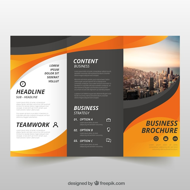 Wavy trifold business flyer Free Vector