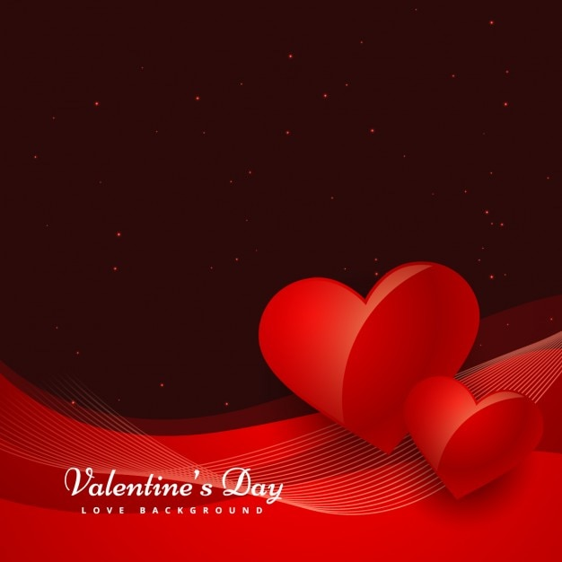 Wavy Valentines Background With Two Hearts Vector Free Download