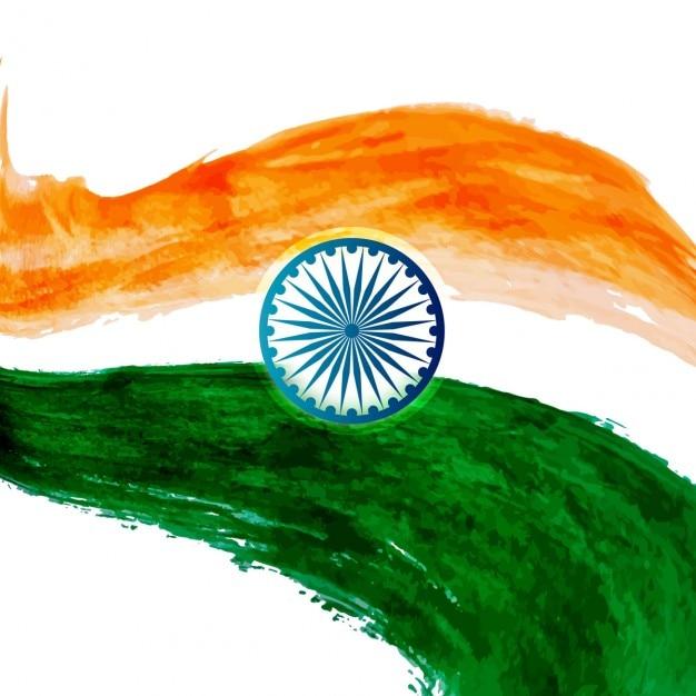 Wavy watercolor Indian flag design