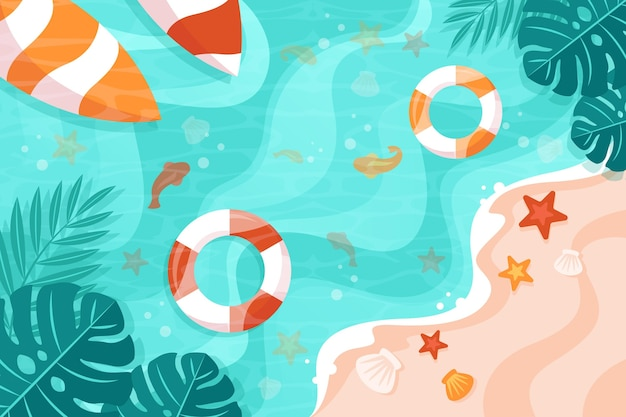 波状水とフローティーの夏の背景 Premiumベクター