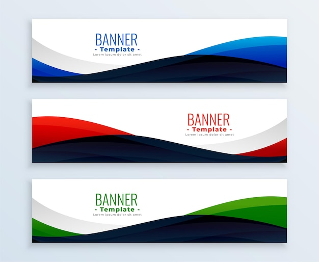 Wavy web business banners headers set Free Vector