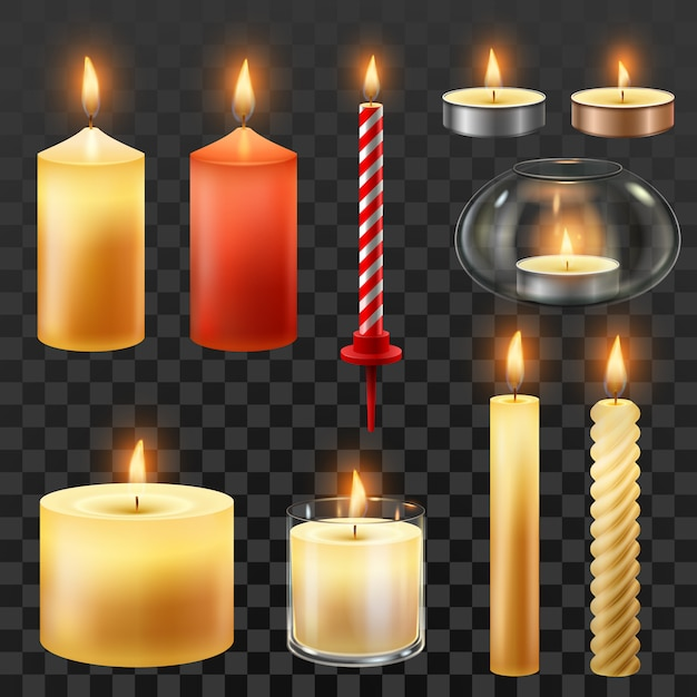 Wax romantic candles for christmas party isolated set Premium Vector