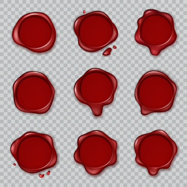Wax seal. original waxing rubber old vintage document envelope seals red approve stamps isolated Premium Vector