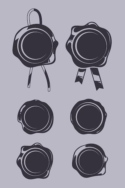 Wax Seals Black Vector Templates Set