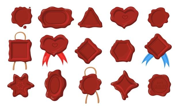 왁스 물개 세트. 다른 모양, 심장, 직사각형, 원형, 육각형, 골동품 스타일의 삼각형의 진한 빨간색 우표. 무료 벡터