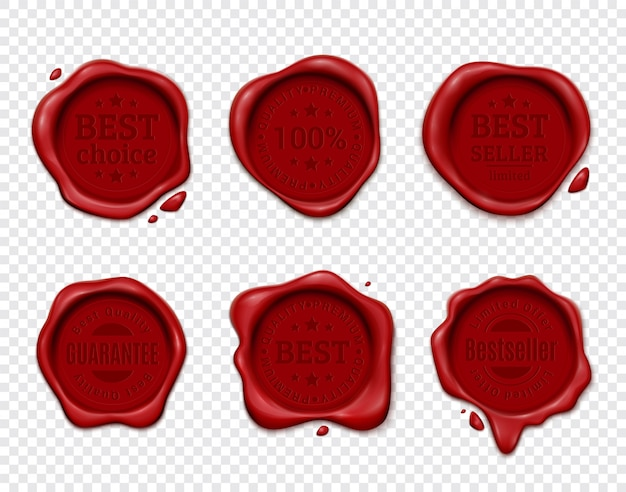 Wax stamp product ad set with six isolated wafers on transparent  with silhouette text emblems Free Vector