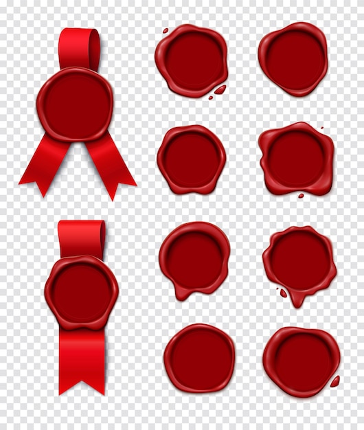 Wax stamp transparent set realistic 3d collection of isolated wax seal images with empty circle space Free Vector