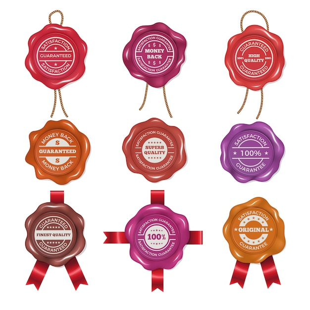 Wax stamps with different promo labels. vector pictures set Premium Vector