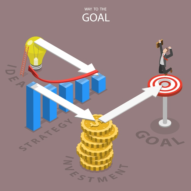 A way to the goal isometric flat vector illustration. Premium Vector