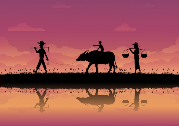 The way of life of farmers in thailand Premium Vector
