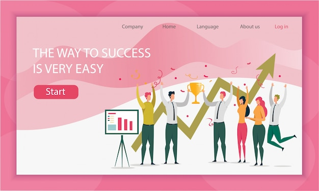 Way team to success is very easy landing page template Premium Vector