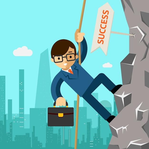 Путь к успеху. бизнесмен стремится к лидерству. человек взбирается на скалу. векторная иллюстрация Бесплатные векторы