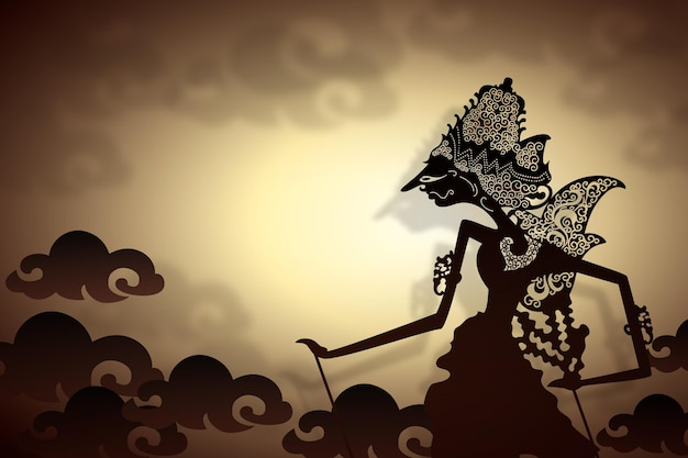 Wayang kulit abstract silhouette of character Free Vector