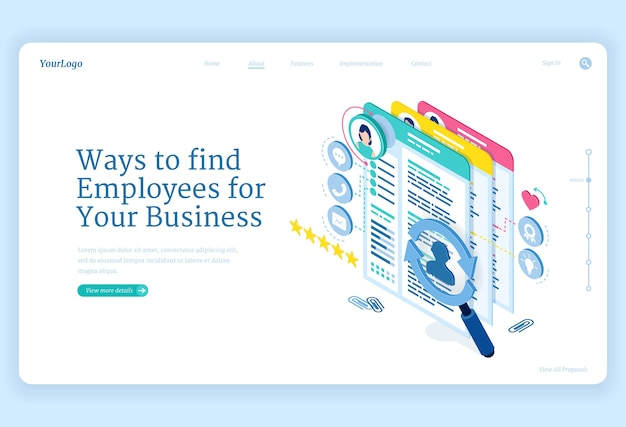 Ways to find employees to business Free Vector