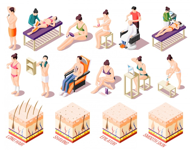 Ways of hair removal and people doing epilation in salon and at home isometric icons set isolated on white  3d Free Vector