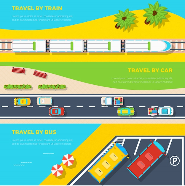 Ways to travel banners Free Vector