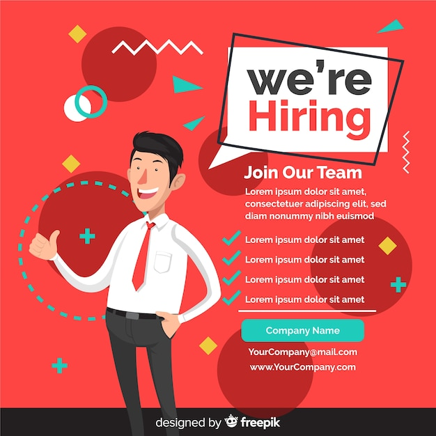 We are hiring background with team members Free Vector