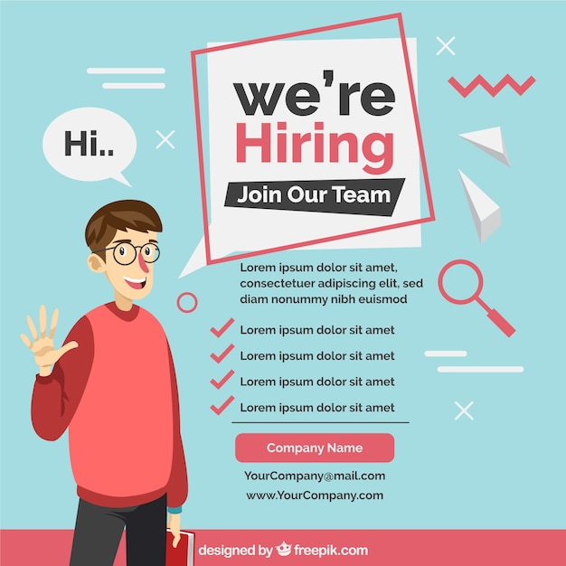 We are hiring background with worker Free Vector