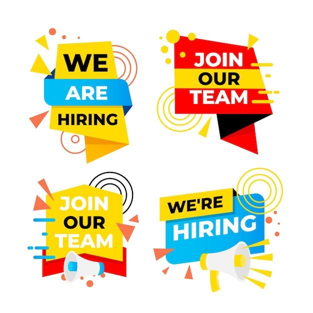 We are hiring banner set Premium Vector