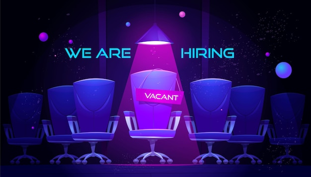 We are hiring banner with vacant chair under spotlight. Free Vector