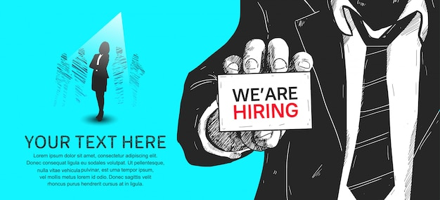 We are hiring banner Premium Vector