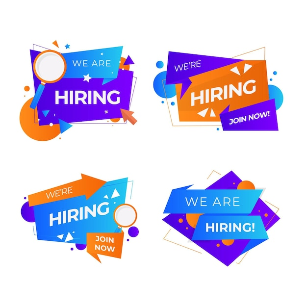 We are hiring banners collection Free Vector
