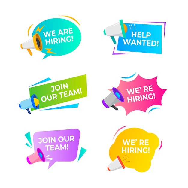 We are hiring banners collection Premium Vector