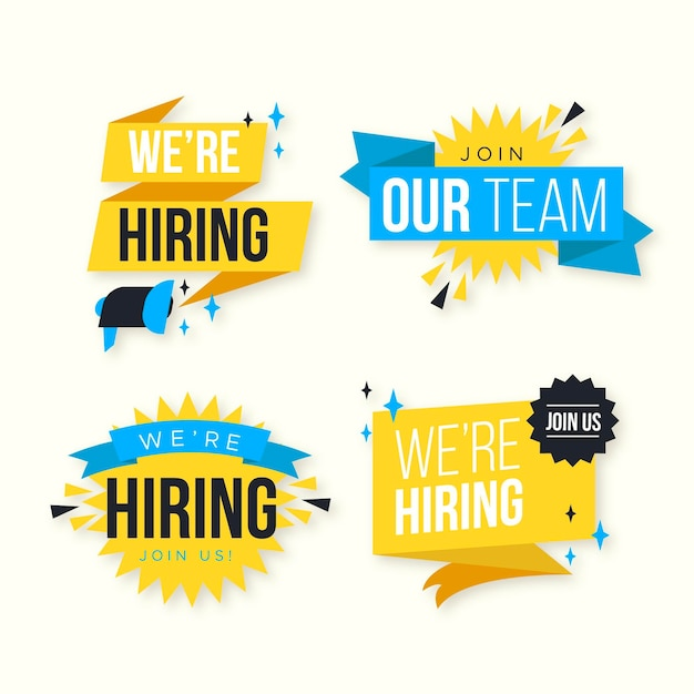 We are hiring banners concept Free Vector