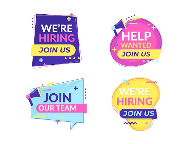 We are hiring banners pack Free Vector