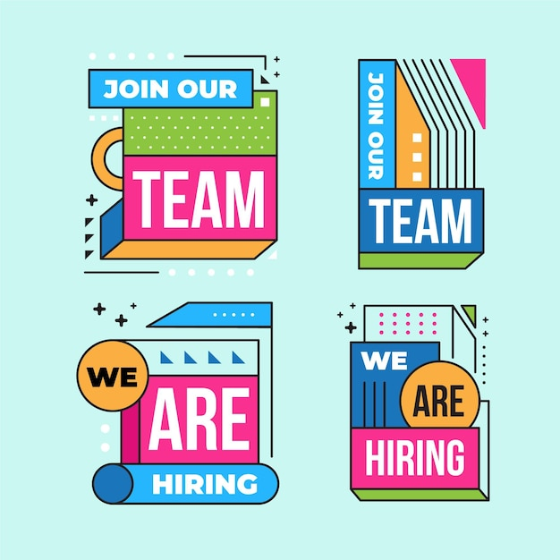 We are hiring banners set Free Vector