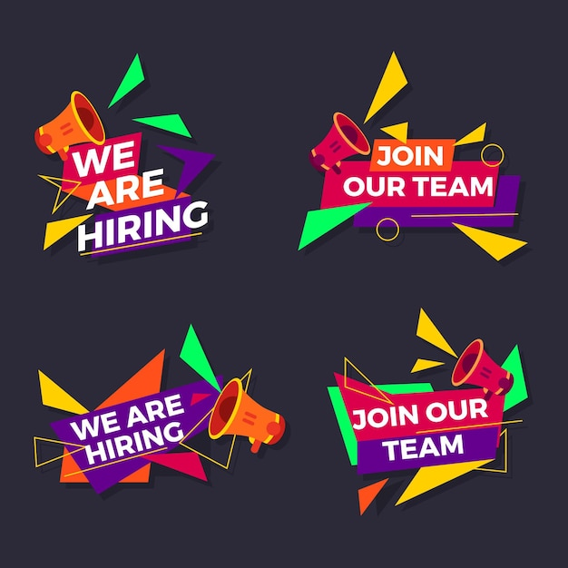 We are hiring banners template Free Vector