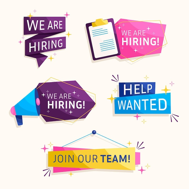 We are hiring banners Free Vector
