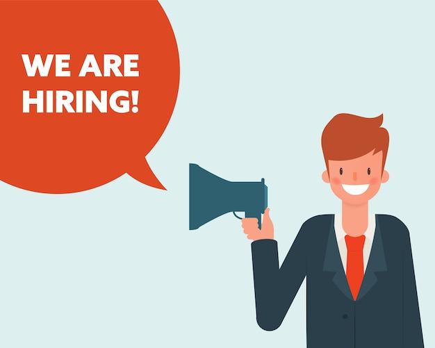 We are hiring businessman character. Premium Vector