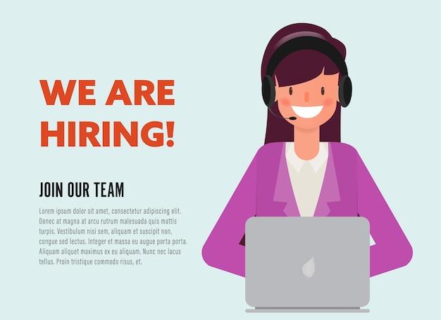 We are hiring businesswoman character. Premium Vector