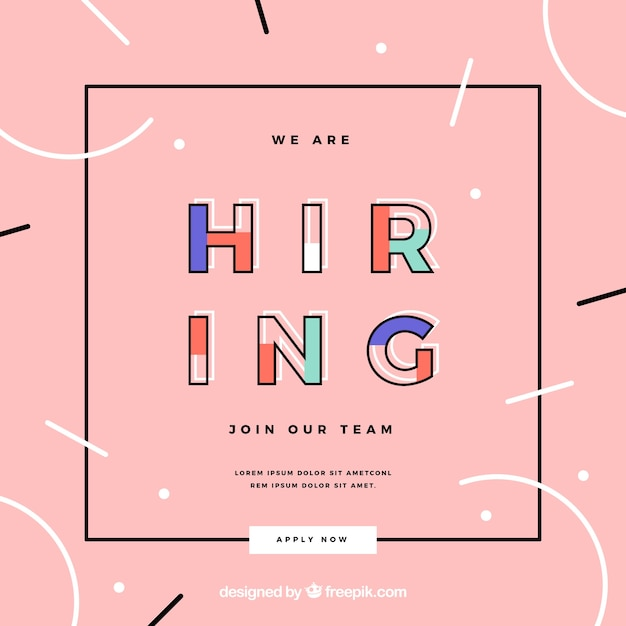 We are hiring colorful and modern banner composition Free Vector