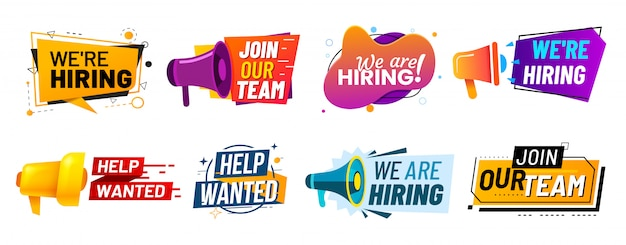 We are hiring communication poster, help wanted advertising banner with speaker Premium Vector
