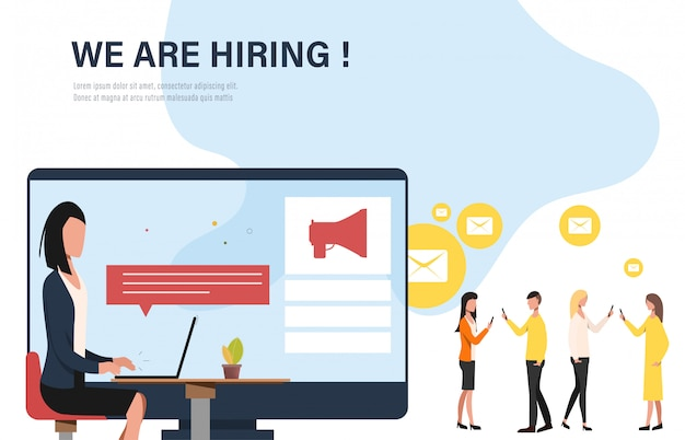 We are hiring concept banner infographic. Premium Vector