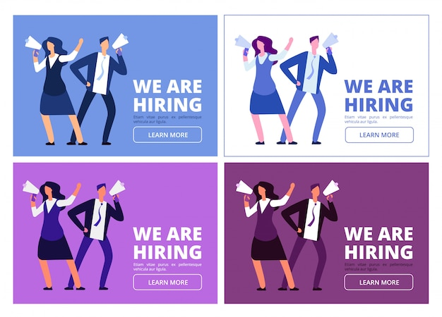 We are hiring concept. man and woman with megaphone shouting for interview. Premium Vector