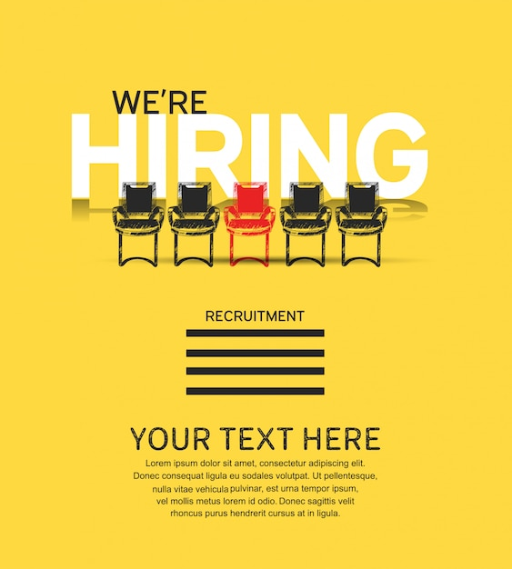 We are hiring concept poster with chairs illustration Premium Vector