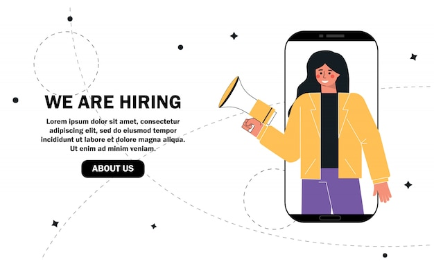 We are hiring concept, recruitment agency, woman shouting on megaphone or loudspeaker and recruiting new employees people to work. Premium Vector