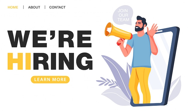 We are hiring concept. recruitment agency. Premium Vector