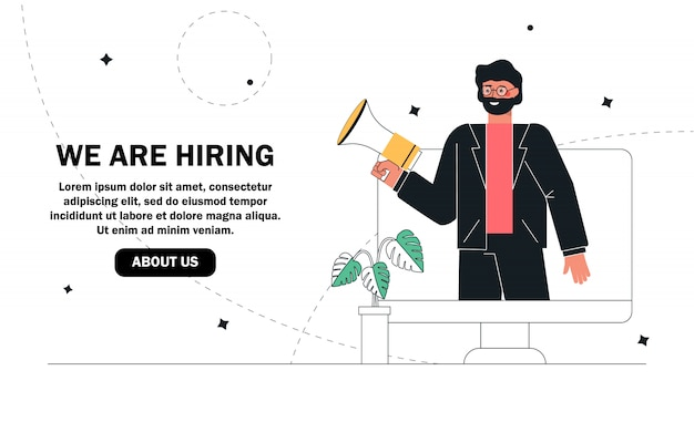 We are hiring concept, recruitment agency. Premium Vector
