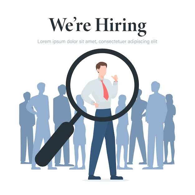 We are hiring concept with businessman and magnifying glass illustration Premium Vector