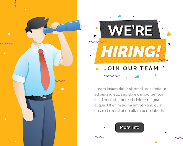 We are hiring concept with character Premium Vector