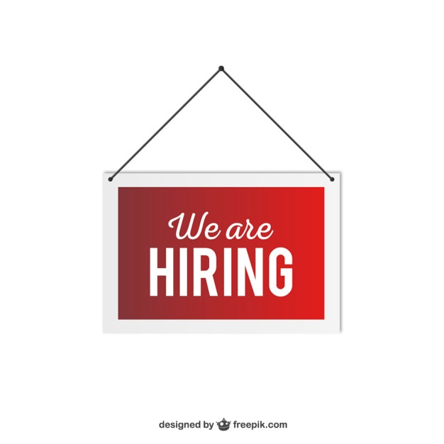 We are hiring hanging sign Free Vector